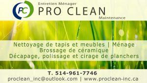 Entretien ménager Pro Clean, nettoyage, tapis, céramique, planchers